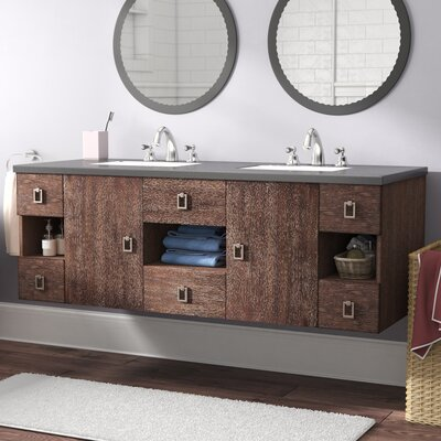 Hobbs 60 Double Bathroom Vanity Set Base Finish: Coffee Oak, Top Finish: Shadow Gray Quartz, Top Thickness: 3cm