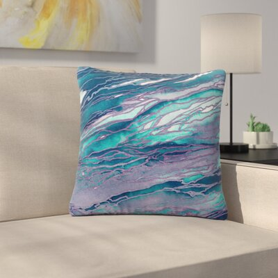 Ebi Emporium Agate Magic Abstract Geological Painting Outdoor Throw Pillow Color: Lilac Teal/Blue Lavender, Size: 18 H x 18 W x 5 D