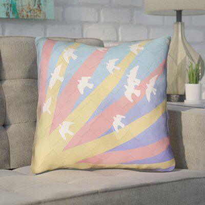 Enciso Birds and Sun Square Throw Pillow Color: Yellow/Orange, Size: 18 H x 18 W