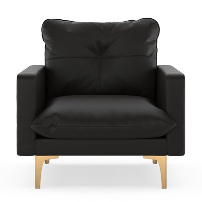 Selden Armchair Upholstery: Onyx, Finish: Chrome