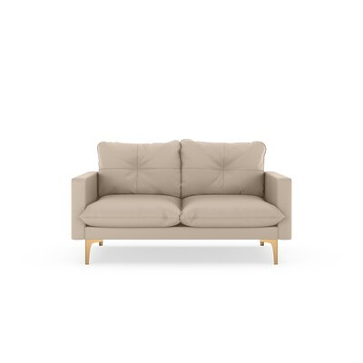 Selden Loveseat Upholstery: Oat, Finish: Chrome