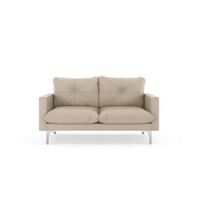 Selden Loveseat Upholstery: Oat, Finish: Brass