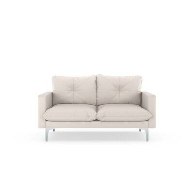 Selden Loveseat Upholstery: Ivory, Finish: Brass