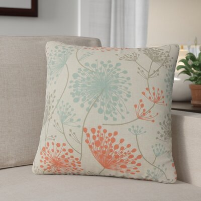 Veilleux Floral Cotton Throw Pillow Color: Orange
