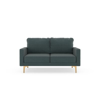 Crofts Loveseat Upholstery: Ocean Gray, Finish: Chrome