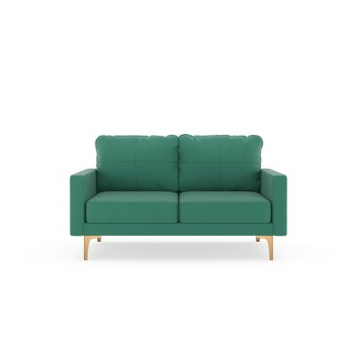 Crofts Loveseat Upholstery: Teal, Finish: Chrome