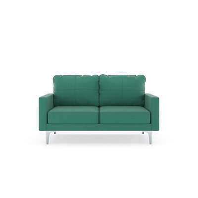 Crofts Loveseat Upholstery: Teal, Finish: Brass