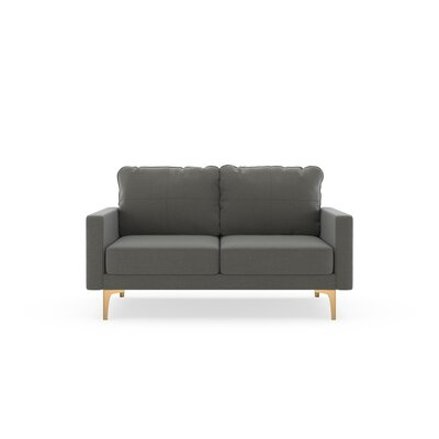 Crofts Loveseat Upholstery: Pebble, Finish: Chrome