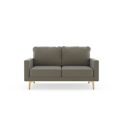 Crofts Loveseat Upholstery: Smoke, Finish: Chrome