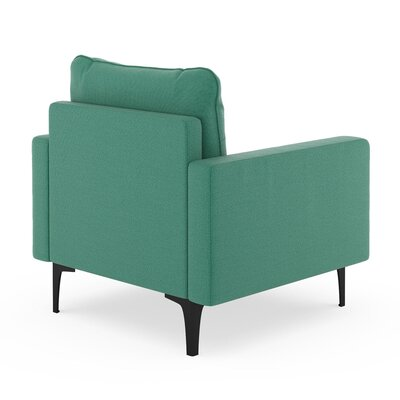 Crofts Armchair Upholstery: Teal, Finish: Brass