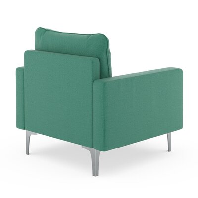 Crofts Armchair Upholstery: Teal, Finish: Chrome