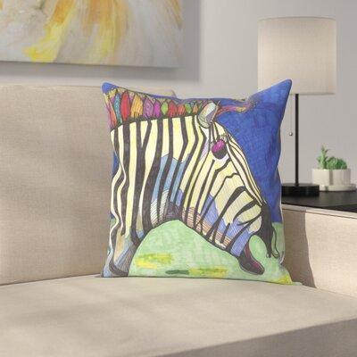 Zebra Zelda Throw Pillow Size: 14 x 14