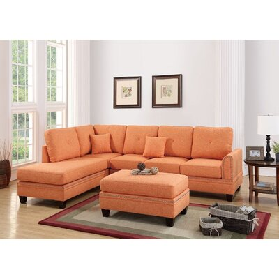 Marshal Reversible Sectional Upholstery: Citrus
