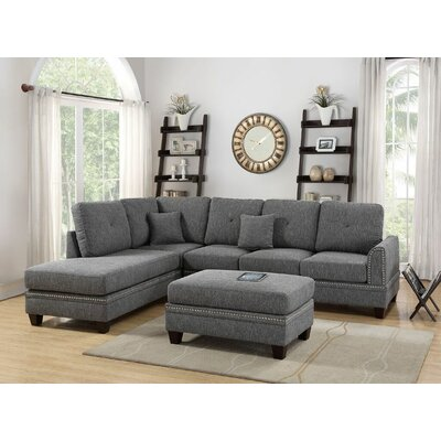 Marshal Reversible Sectional Upholstery: Ash Black