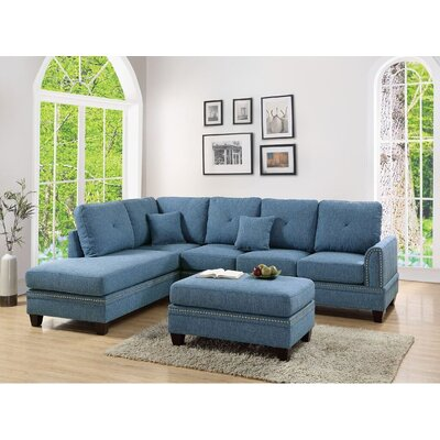 Marshal Reversible Sectional Upholstery: Blue