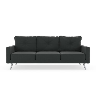 Crivello Sofa Upholstery: Raven Gray, Finish: Brass