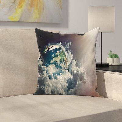 Abstract Planet Clouds Square Pillow Cover Size: 20 x 20
