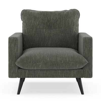Crosson Armchair Upholstery: Spruce Gray, Finish: Black
