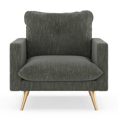 Crosson Armchair Upholstery: Spruce Gray, Finish: Chrome