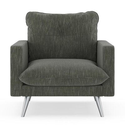 Crosson Armchair Upholstery: Spruce Gray, Finish: Brass
