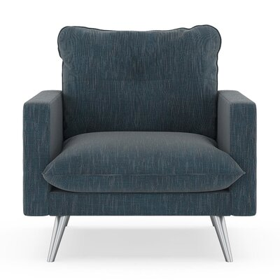 Crosson Armchair Upholstery: Navy Gray, Finish: Brass