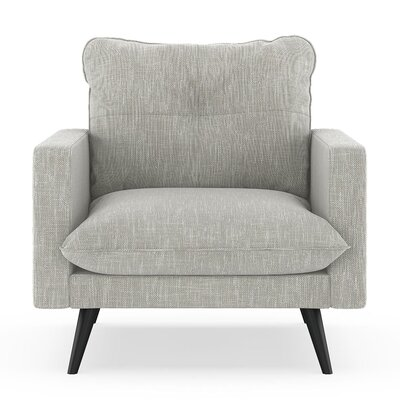 Crosson Armchair Upholstery: Cloud Gray, Finish: Black