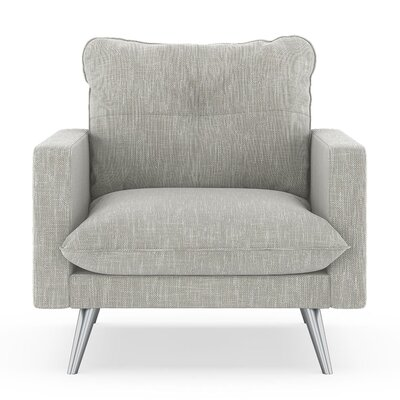 Crosson Armchair Upholstery: Cloud Gray, Finish: Brass