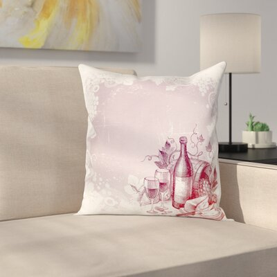 Wine Grunge Abstract Framework Square Pillow Cover Size: 16 x 16