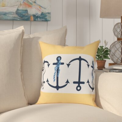 Hancock Anchor Stripe Print Outdoor Throw Pillow Size: 18 H x 18 W, Color: Yellow
