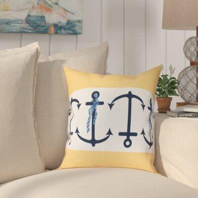 Hancock Anchor Stripe Print Outdoor Throw Pillow Size: 20 H x 20 W, Color: Yellow