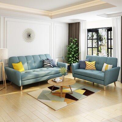 Cavitt 2 Piece Living Room Set Upholstery: Blue