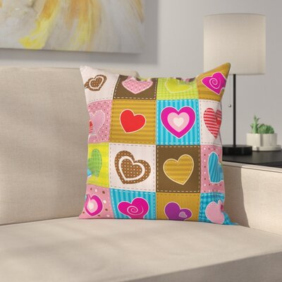 Love Heart Patchwork Square Pillow Cover Size: 18 x 18
