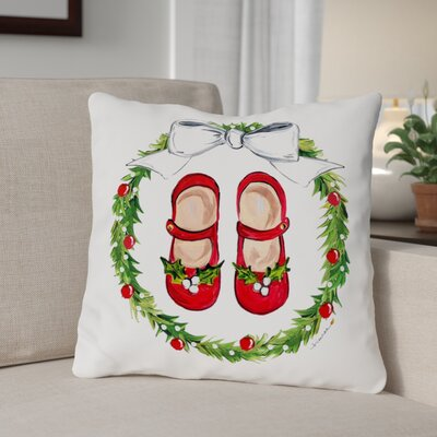 Mary Janes Wreath - Multi 16x16 Pillow by Timree Gold Size: 18 x 18