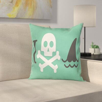 Skull Shark Marine Quote Square Pillow Cover Size: 16 x 16