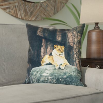 Thatcher Lioness Square Pillow Cover Size: 14 x 14
