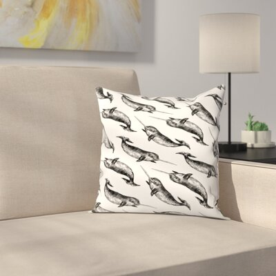 Jetty Printables Narwhal Pattern Throw Pillow Size: 14 x 14