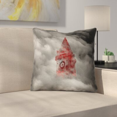 Double Sided Print Square Watercolor Gothic Clocktower Throw Pillow Size: 18 x 18