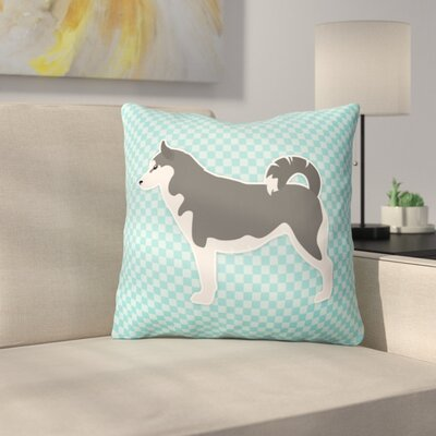 Siberian Husky Indoor/Outdoor Throw Pillow Size: 18 H x 18 W x 3 D, Color: Blue