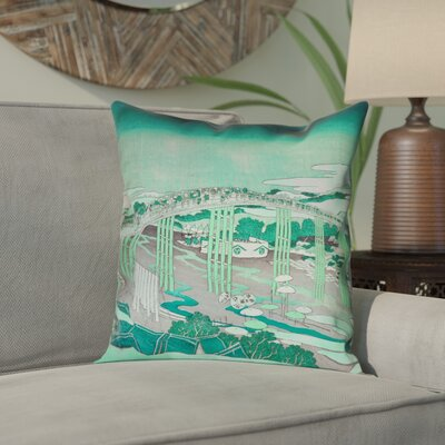 Enya Japanese Bridge Square Pillow Cover Color: Green, Size: 14 x 14