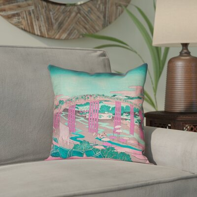 Enya Japanese Bridge Outdoor Throw Pillow Color: Pink/Teal, Size: 18 x 18