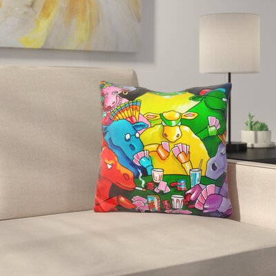 Cows Poker Throw Pillow