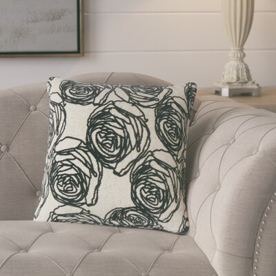 Beglin Floral Throw Pillow Color: Black
