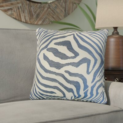 Ber Zebra Print Cotton Throw Pillow Color: Marine