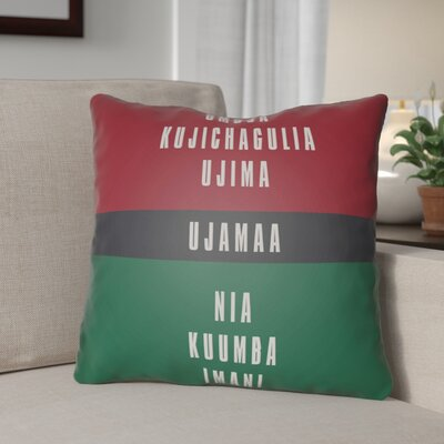 Indoor/Outdoor Throw Pillow Size: 18 H x 18 W x 4 D, Color: Red/White/Black/Green