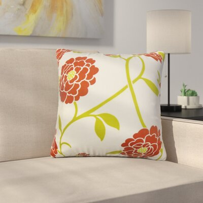 Stroh Floral Cotton Throw Pillow Color: Red