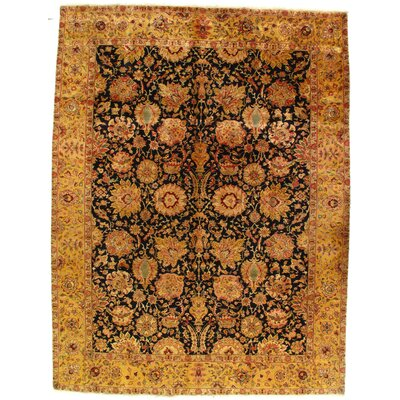 Genuine Agra Hand-Woven Wool Black/Brown Area Rug