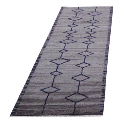 Genuine Moroccan Hand-Woven Wool Gray Area Rug