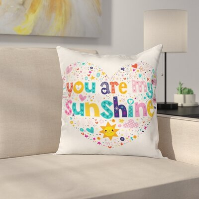Cartoon For Kids Heart Shaped Square Pillow Cover Size: 18 x 18
