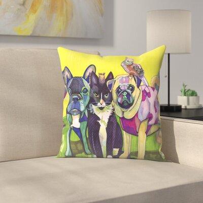 Four Animals Throw Pillow Size: 14 x 14