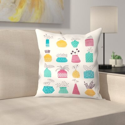 Ornamental Vases Throw Pillow Size: 18 x 18